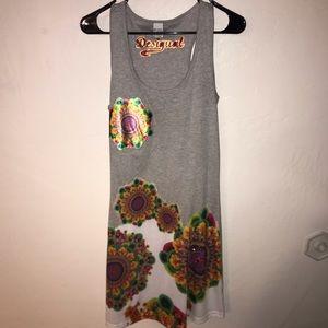 Desigual Dresses - Desigual Tank Floral appliqué Dress Heathered
